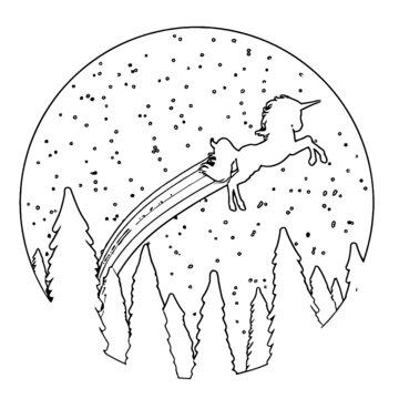 flying unicorn unisex crewneck sweatshirt Coloring book animals vector illustration