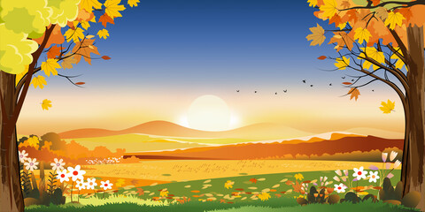 Autumn landscapes of Countryside with sunset and blue and pink sky,Panoramic of mid autumn with farm field, mountains, leaves falling from trees in orange foliage. Wonderland in fall season