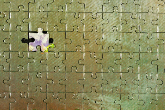 Disassembled puzzle with a last wrong piece impossible to fill