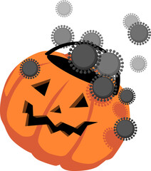 Halloween candy basket in a form of Jack-o-lantern, covered in coronavirus or flu virus, EPS 8 vector illustration
