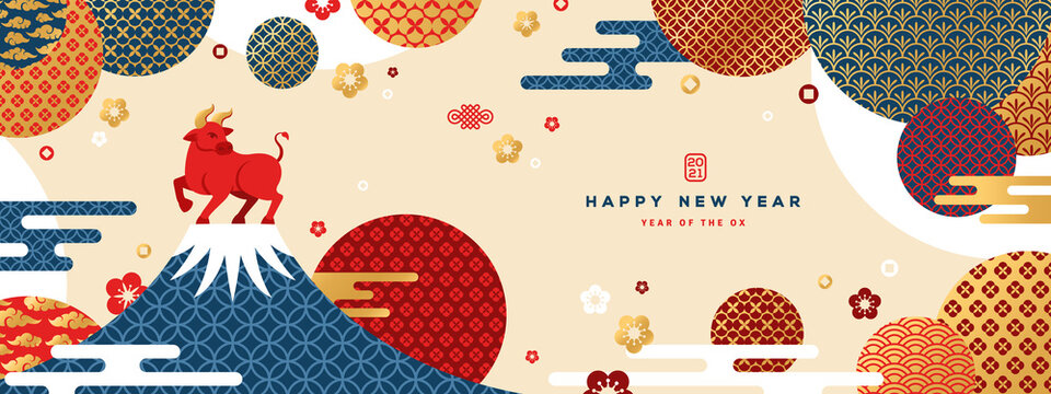 Mount Fuji at sunset with Zodiac Ox on the Top. Japanese greeting card or banner with geometric ornate shapes. Happy Chinese New Year 2021. Clouds and Asian Patterns in Modern Style.