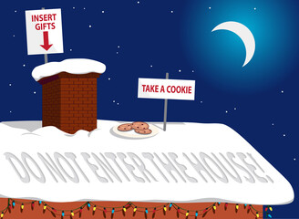 Rooftop of a house in Christmas night with cookies and safety instructions for Santa Claus as covid-19 measures,  EPS 8 vector illustration, no transparencies, no mesh