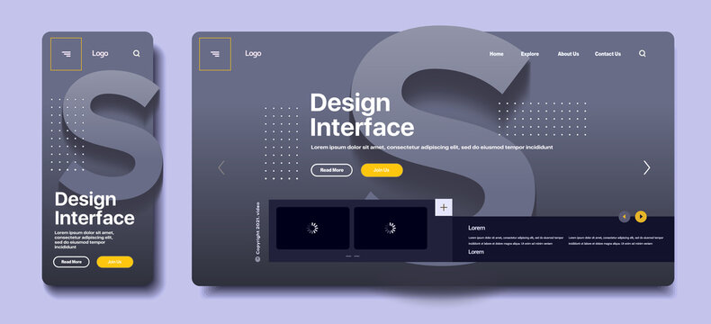 Vector illustration. Volume letter S in the background. Modern flat web design in responsive website and app.