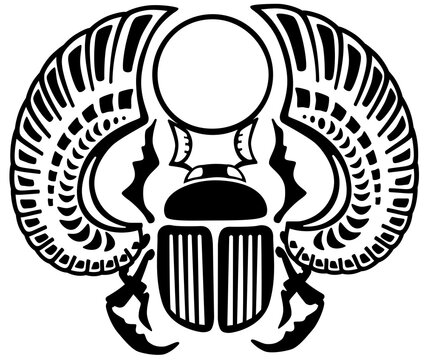 Egyptian scarab beetle. Sacked bug a symbol of the sun in the ancient Egypt . Black and white vector illustration