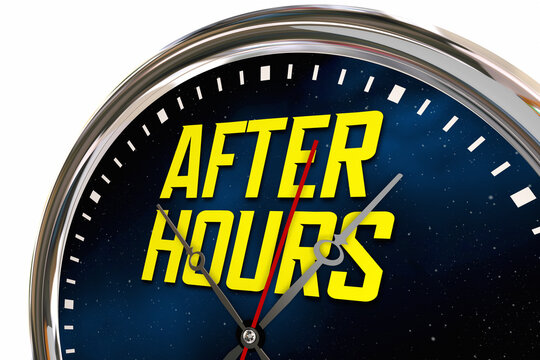 After Hours Clock Late Night Overtime Hands Ticking 3d Illustration