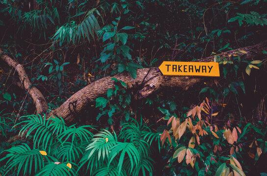 Takeaway yellow sign