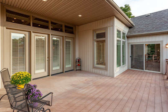 Back patio with wooden deck
