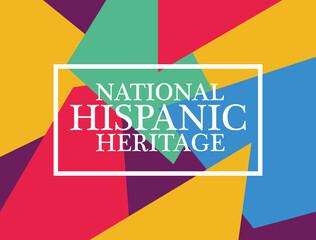 Fototapeta national hispanic heritage label in multicolor background obraz