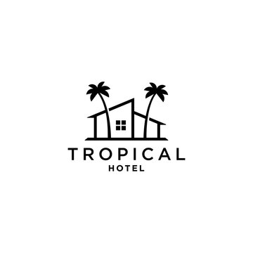 house with palm tree logo vector, tropical beach home or hotel icon design illustration
