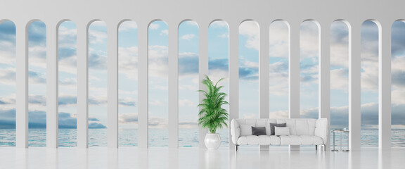 Modern Concept interior design of white living room with a sea view, 3d Render 3d illustration