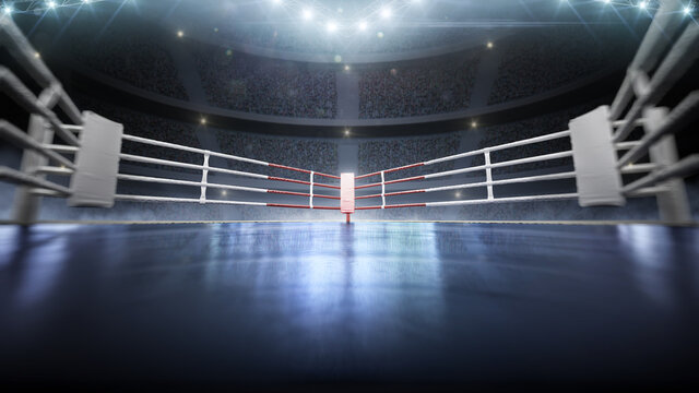 3D boxer arena with viewers. Empty boxing ring under lights. Full tribune. Wide angle. 3D rendering