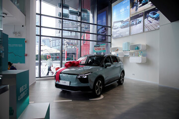 AIWAYS U5 electric car is displayed at company's store in Shanghai