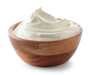 wooden bowl of whipped sour cream yogurt
