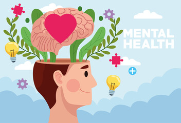 mental health day man profile and heart in brain with icons Wall mural