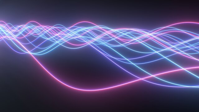 Abstract Pink Blue Retro Neon Lights Glow Wave Beam Line Wires Flow - Abstract Background Texture