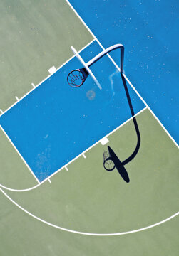 Overhead view of basketball court in city