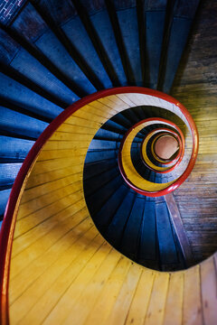 Wooden Yellow Spiral Staircase