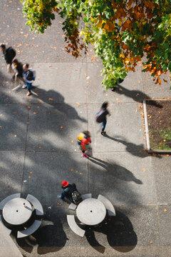top down view of people walking through courtyard