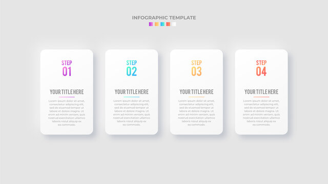 Four 4 Steps Options Timeline Business Infographic Modern Design Template