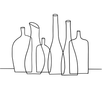 Hand-drawn vector illustration of empty alcoholic beverage bottles lined up in a row.
