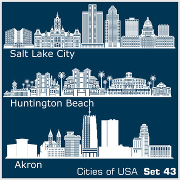 Cities of USA - Huntington Beach, Salt Lake City, Akron. Detailed architecture. Trendy vector illustration.