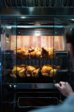 Rotisserie Chickens Cooking