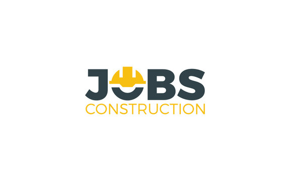 Construction logo in word mark style formed helmet construction symbol