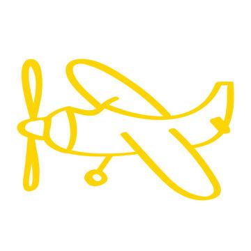 Handgezeichnetes Propeller-Flugzeug in gelb