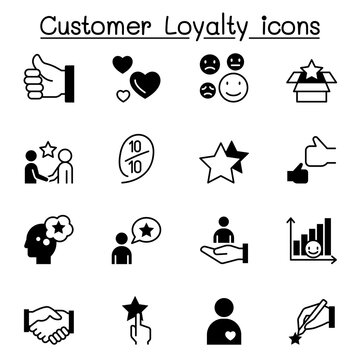 Set of Customer loyalty icons. contains such icons as review, comment, feedback, customer relationship managment, satisfaction and more