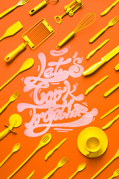 "Lets cook together"""" text with orange kitchen props on orange background"