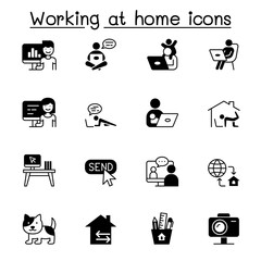 Work from home icons set vector illustration graphic design