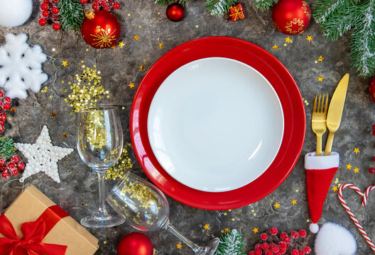 Christmas background table setting and decor. Selective focus.