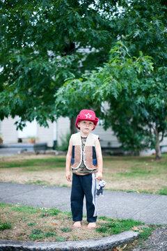 Little suburban cowboy is unimpressed
