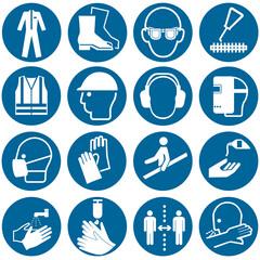 Sammlung aus Gebotszeichen nach DIN EN ISO 7010, Vektor Datei