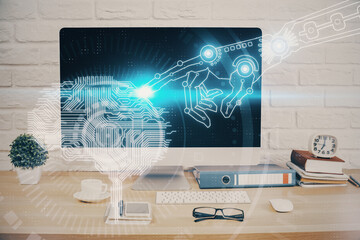 Double exposure of desktop with computer and brain drawing hologram. Artificial intelligence concept.