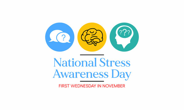 Vector illustration on the theme of national Stress awareness day observed each year during November. Aims to identify and reduce the stress factors in life.