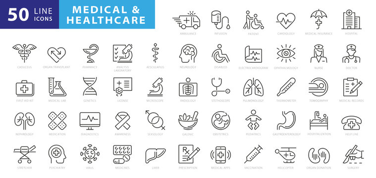 Medicine and Health symbols - minimal thin line web icon set. Outline icons collection. Simple vector illustration