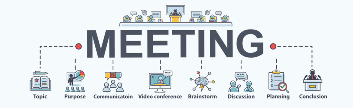 Meeting banner web icon for appointment and convoke, Topic, purpose, brainstorm, communication, discussion, video conference and conclusion. Minimal flat cartoon vector infographic.