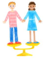 男女平等のイメージの手描きイラスト