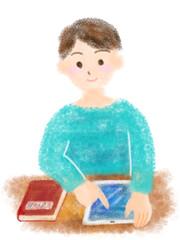 タブレットで勉強する子供のイラスト