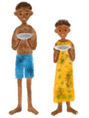 飢餓の子供たちの手書きイラスト