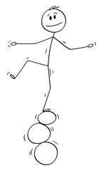 Vector cartoon stick figure drawing conceptual illustration of man or businessman balancing on three rings, balls or stones.