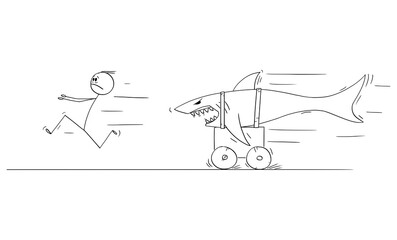 Vector cartoon stick figure drawing conceptual illustration of man running in fear or panic from dangerous shark riding on land on cart.
