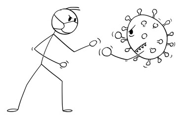 Vector cartoon stick figure drawing conceptual illustration of man, doctor, medic or boxer wearing face mask and fighting with coronavirus covid-19 virus disease.