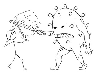 Vector cartoon stick figure drawing conceptual illustration of man, doctor, medic or knight wearing face mask and fighting with sword with coronavirus covid-19 virus as fantasy monster or giant.