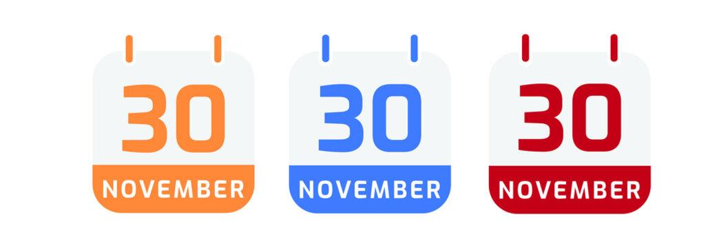 30 november calendar vector design