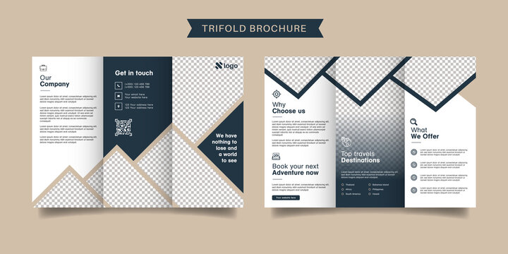 Travel business trifold brochure template. Modern, Creative and Professional tri fold brochure vector design. Simple and minimalist promotion layout.