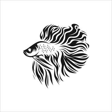 Betta fish logo design icon silhouette