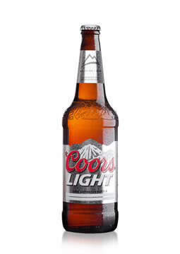 LONDON,UK - MARCH 30, 2017 : Bottle of Coors Light beer on white. Coors operates a brewery in Golden, Colorado, that is the largest single brewery facility in the world.