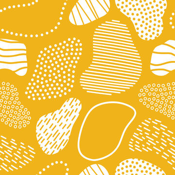 Abstract shapes background. Retro mid century print. White and mustard yellow. Seamless pattern vector.